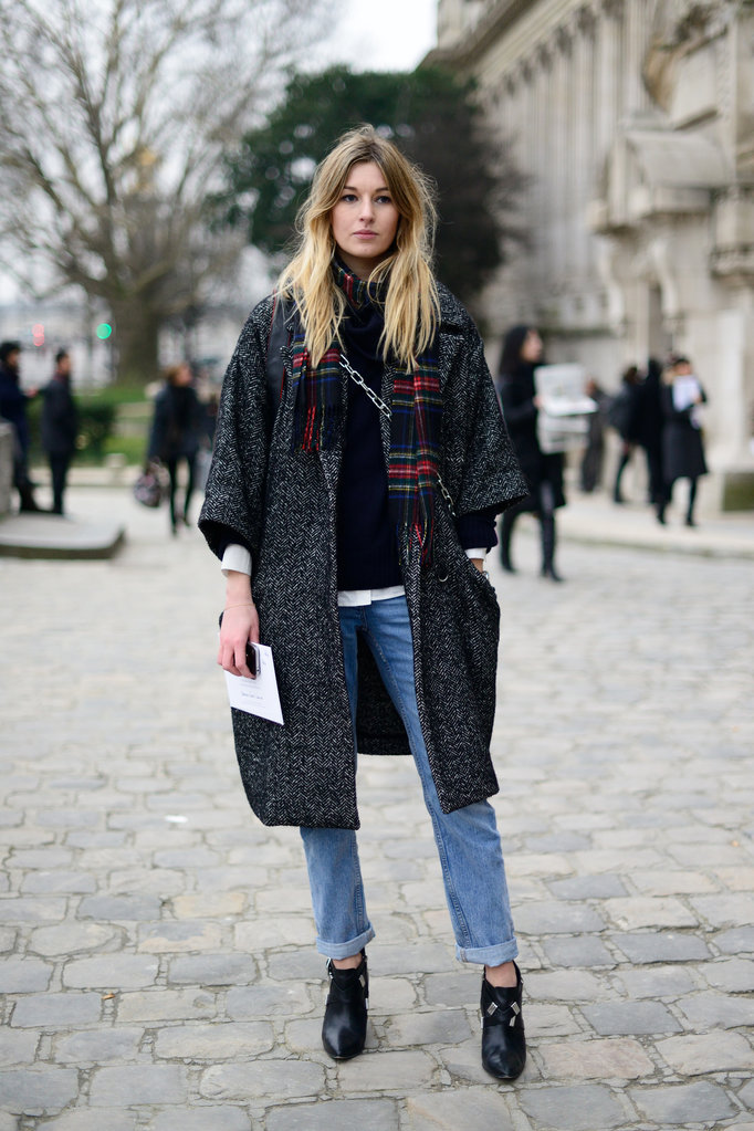 Tweed and tartan layering