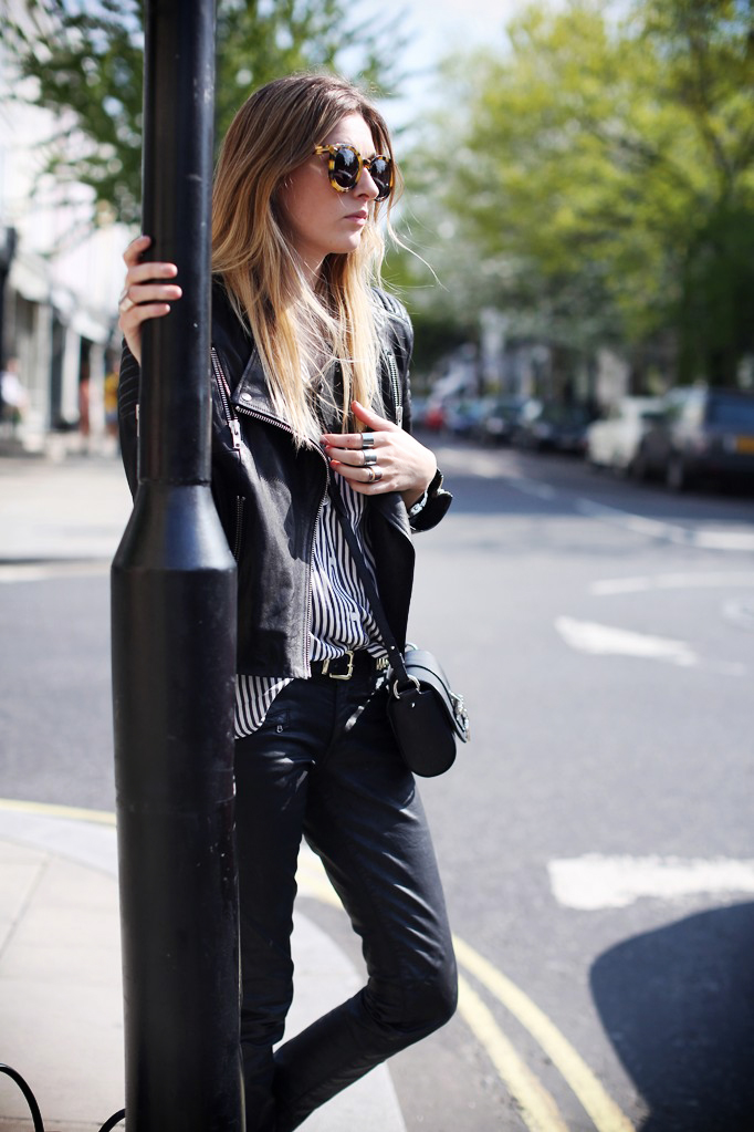 Coated jeans and biker jacket