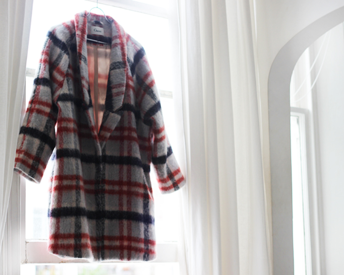 Ganni plaid coat